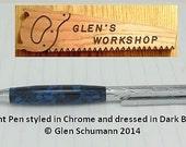 Ballpoint Pen Handmade in Chrome and Dark Blue Pearl Acrylic