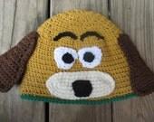 Handmade Crocheted Slinky Dog Hat