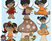 Autumn Pixies AA  African American Clip art  Clipart Graphics  Commercial Use