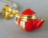 Red Double Happiness Asian Teapot European Bead - Gold Pendant Charm For All European Charm Bracelet And Necklace Chains