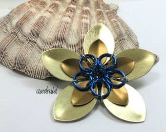 Scale Flower Hair Clip, Handmade Gold and Bronze Flower Hairpiece, Hair Flower Clip