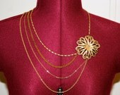 Flower and Chains Statment Necklace