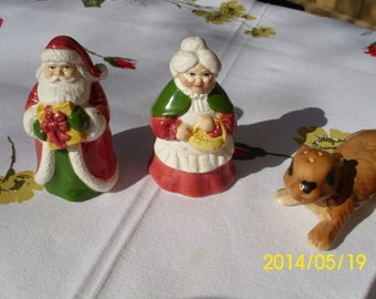 Christmas Holiday Santa and Mrs Collectable Salt & Pepper Shakers