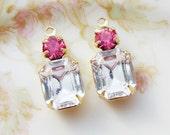 Vintage Rhinestone Dangle Swarovski Crystal Octaon and Rose Pink Stone Drops Brass Charm Settings - 2