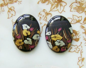 Vintage 18x13mm Black with Gold Silver Leaves Cabochons Oval Acrylic Flower - 4