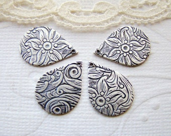 Antiqued Silver Ox Plated Floral Embossed Teardrop Charms Drops - 6