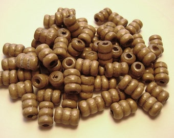 Wood Wooden Ripple Tube Beads 5x8 mm - 250 Pieces