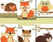 Kids wall art Turtle Nursery Bear Nursery Squirrel Nursery Owl Nursery Fox Nursery Baby Girl Nursery Art Baby Room Decor set of 6 11x14