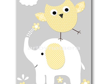 Elephant Nursery Owl Nursery Children Art Print Kids Wall Art Kids Art Baby Girl Nursery Decor Baby Nursery Print Girl Art Yellow Gray