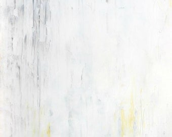 Minute, 2014 - Original Acrylic Artwork Modern Contemporary Abstract Painting Wall Decor Free Shipping Grey Yellow White 11x14 Paper