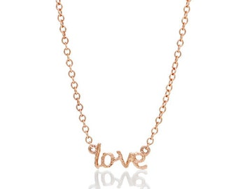 14 Karat Rose or Yellow Gold Wood Grain Twig Design MINI Love Necklace