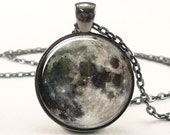 Full Moon Necklace, Space Picture Pendant, Galaxy Jewelry (0439G1IN)