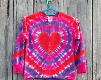 Toddler Heart Tie Dye Long Sleeve Shirt, Toddler Sizes 2T 3T 4T 5,   Pink Red and Purple Tie Dye, Hippie Kids, Valentines Day Shirt