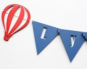 Name banner hot air balloons  wooden garland bunting flags nursery decor custom colors