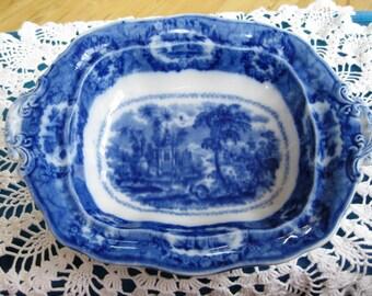 1800s Flow Blue Serving Bowl Rare Very Good