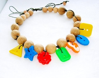 SALE Colorful  Teething necklace Breastfeeding Grandmother gift Geometric Babywearing necklace Baby toy Multicolor
