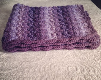 Double thick Purplicious Purples Crochet Baby Blanket,  lap size.
