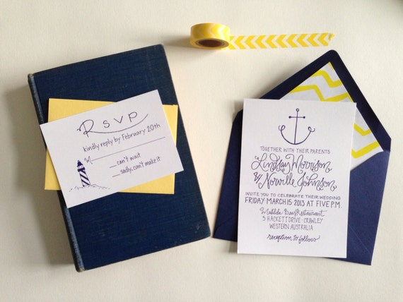 nautical wedding invitations / anchor wedding invites /, Wedding invitations