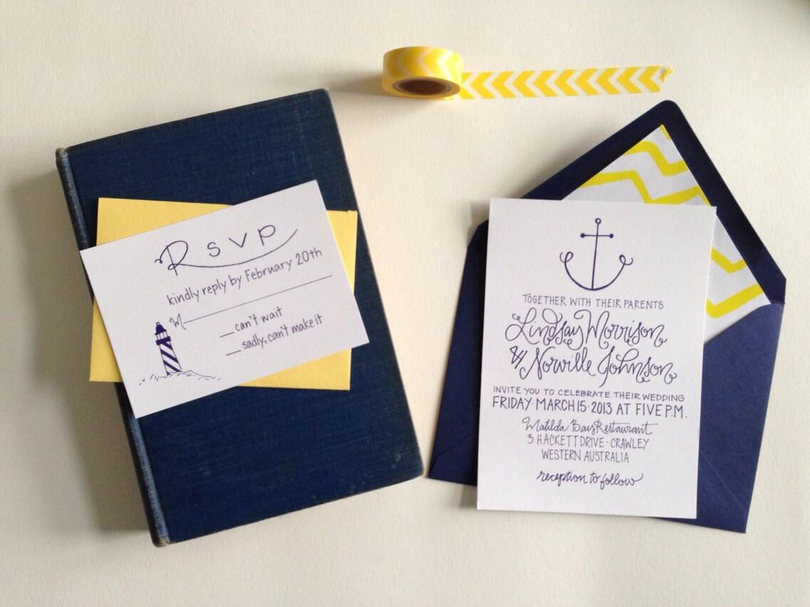 Nautical Wedding Invitation Wording: Nautical Wedding Invitation Anchor Lighthouse By