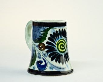 Vintage Tonala mug – Mexican pottery – blue green yellow flower pottery mug