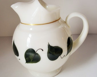 Hand-painted Leaves on a Ball-style White Milkglass Pitcher by 'Dunbar' - Quality 50s Milkglass - Bulb Forcing - Accent Piece