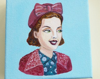 Olivia, an original painting of a vintage woman wearing a hat with a bow.