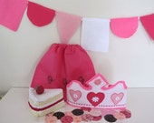 Girls Pink Birthday Party Kit, Felt Birthday Hat, Felt Cake, pink Bunting