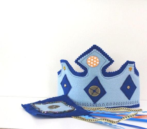 Felt Crown and Staff, Knights crown, Kings Crown, Party Crown, Waldorf Toy