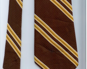 vintage brown polyester yellow striped mens necktie