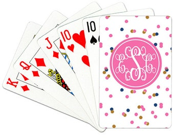 Monogrammed Playing Cards Personalized Deck of Cards Custom Card Deck Confetti Playing Cards