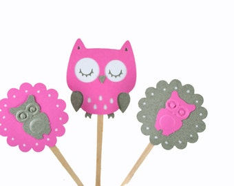 12 Owl Cupcake Toppers / Owl Baby Shower / Owl Party / Baby shower / Owl Birthday Party / Woodland Toppers / Owl Party Decor / Pink Owl