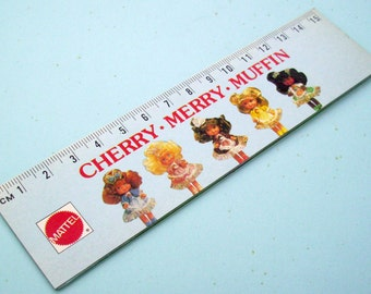 Cherry Merry Muffin Ruler Holographic Cow Girl Barbie Doll 80s Mattel Toys Writing Supplies