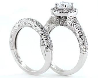 Diamond wedding set engagement ring and wedding band forever brilliant moissanite center custom made bridal jewelry