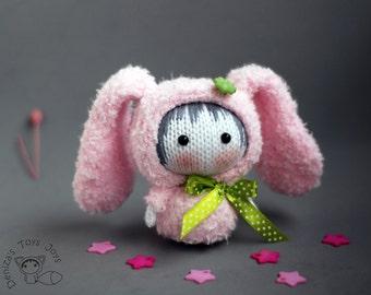 Pink Bunny Doll. Tanoshi series toy. - pdf knitting pattern