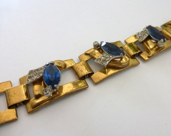 Vintage 1950's Deco Gold Link Bracelet with Crystals and Blue Marquis Rhinestones