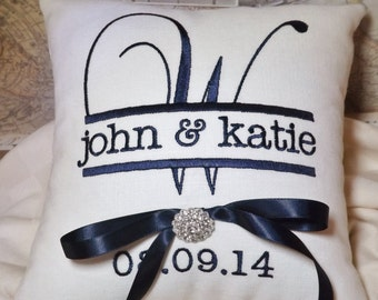 Ring Bearer Pillow, Personalized ring bearer pillow, wedding pillow, embroidered ring pillow, custom ring pillow, Mr. & Mrs. ring pillow