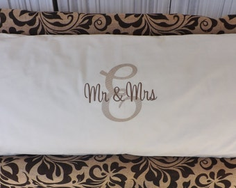 Mr. & Mrs. Personalized Body Pillow Cover.  Embroidered body pillow cover, custom body pillow cover, body pillow cover