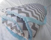 "Nap Mats Preschool Toddler Kindergarten Daycare Blanket Pillow Cover Plush Blue Minky Chevron Kindermat Personalization Boys Kids 20"" x 49"""