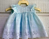Vintage Dress in blue eyelet- Sizes 12 and 18 months -New, never worn