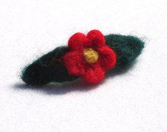 Red Flower Barrette Needle Felted