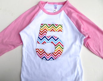 5 for 5th  Birthday Pink and White Raglan Rainbow Chevron Number or Any Birthday Number on Birthday Shirt