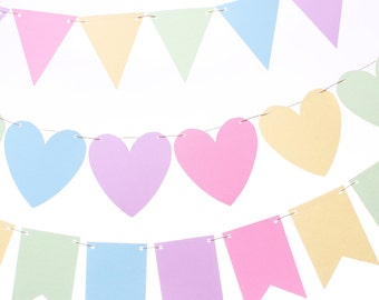 Pastel Rainbow Garland - Pastel Bunting  - Rainbow Garland - Baby - Easter - Spring - Baby Photography Prop - Pastel Flag Banner