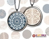LACE on CANVAS - 30mm  Round images printable digital downloads for Pendants Glass Cabochon Jewelry Supplies Bezel Trays DIY
