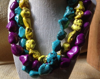 TOTO pyt - Purple Yellow and Turquoise Howlite and Bone Beaded Necklace Chunky Tribal Statement Bold