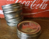 Canning Supplies - unused mason jar lids and rings - set of 12 wide mouth