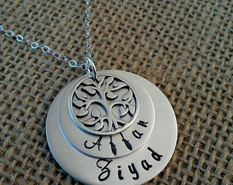 Mother Necklace, Mom Necklace, Family Necklace with Kids Names, Grandma Necklace, Tree of Life Necklace by Stamped Evermore