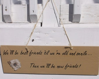 We'll Be Best Friends 'Til We're Old And Senile....Then We'll Be New Friends Hand Painted Wood Sign