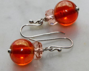 Handcrafted sterling earrings vintage aurora borealis orange carnival glass Vintage Czech peach glass handmade sterling ear wires by reneux.