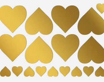 2 inch heart stickers | 2 inch gold hearts | Gold wedding decorations | Shine gold heart labels | 2 inch self adhesive hearts