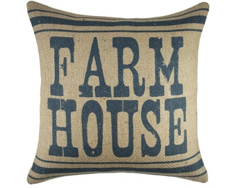 Farm House Pillow, Rustic Burlap Pillow, Decorative Southern Pillow, Farmhouse